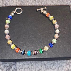 925 Multi color bead bracelet